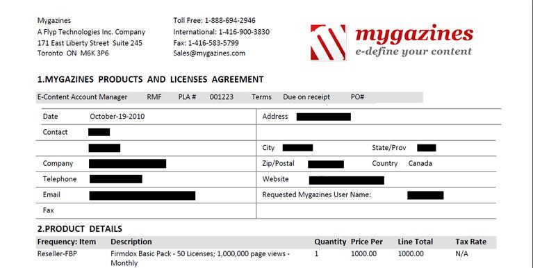 Mygazines Sales Order Template